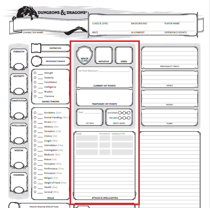 It's just a photo of Dnd 5e Printable Character Sheet inside back side